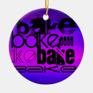 Bake; Vibrant Violet Blue and Magenta Double-Sided Ceramic Round Christmas Ornament