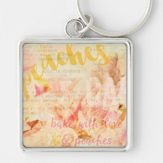 Bake with love and peaches collage keychain