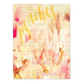 Bake with love and peaches collage magnetic card