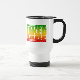 BAKED BABE - High-Flying Empowered Female, Rasta 15 Oz Stainless Steel Travel Mug