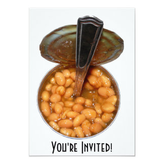 Baked Beans in Tin Can with Spoon Card
