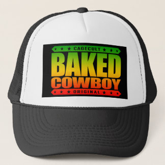 BAKED COWBOY - I Love Rodeos and Munchies, Rasta Trucker Hat