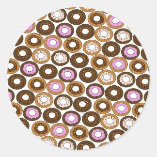 Baked Doughnuts Pattern Classic Round Sticker