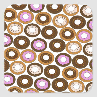 Baked Doughnuts Pattern Square Sticker