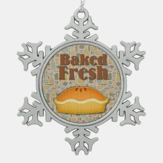 Baked Fresh Pie Snowflake Pewter Christmas Ornament