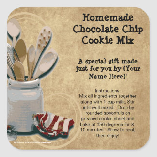 Baked Goods or Mix Gift Jar Labels, Personalized Square Sticker