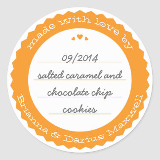 Baked Goods Round Gift Label Sticker Circle Orange