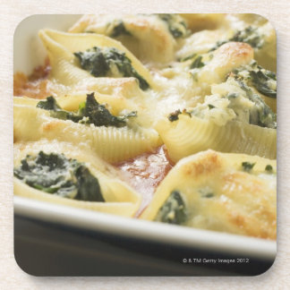 Baked pasta shells with spinach filling beverage coaster