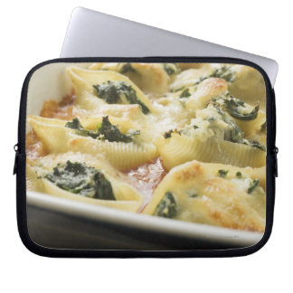 Baked pasta shells with spinach filling laptop sleeve