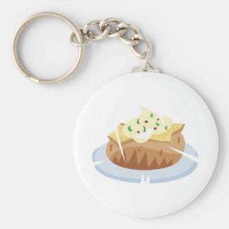 baked potato basic round button keychain