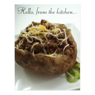 Baked Potato Stuffed with Beef Greetings Postcard