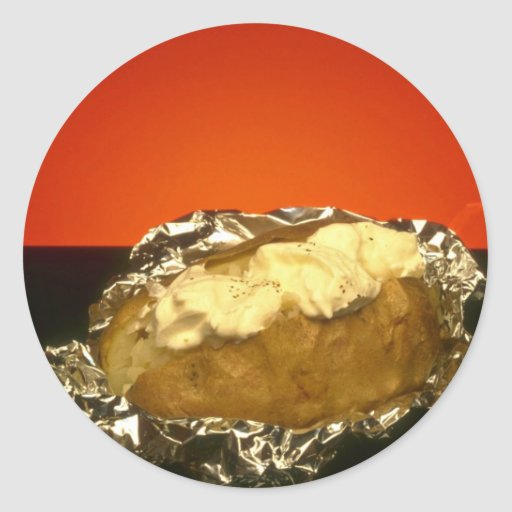 Baked potato with sour cream, against orange backg round stickers