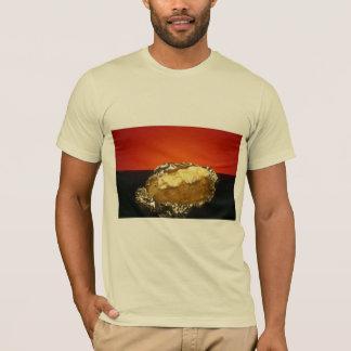 Baked potato with sour cream, against orange backg T-Shirt
