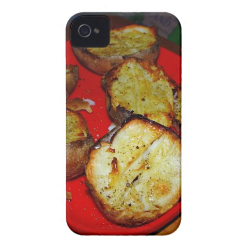 Baked Potatoes on red plastic plate Case-Mate Blackberry Case