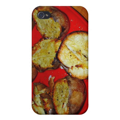 Baked Potatoes on red plastic plate Case For iPhone 4