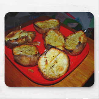 Baked Potatoes on red plastic plate Mousepad