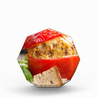 Baked stuffed peppers with meat sauce and cheese acrylic award