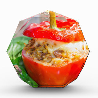 Baked stuffed peppers with meat sauce and cheese award