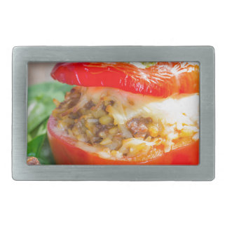 Baked stuffed peppers with meat sauce and cheese belt buckle