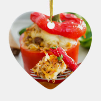 Baked stuffed peppers with meat sauce and cheese ceramic ornament