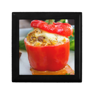 Baked stuffed peppers with meat sauce and cheese jewelry box