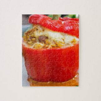 Baked stuffed peppers with meat sauce and cheese jigsaw puzzle
