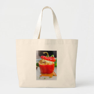 Baked stuffed peppers with meat sauce and cheese large tote bag