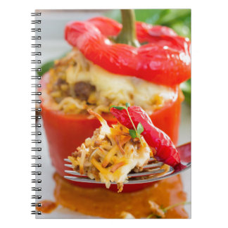 Baked stuffed peppers with meat sauce and cheese notebook