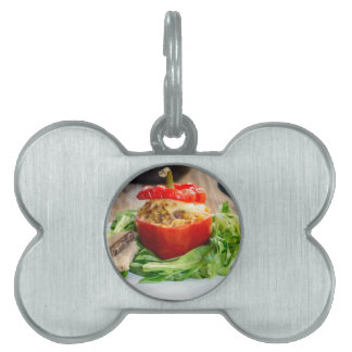 Baked stuffed peppers with meat sauce and cheese pet ID tag