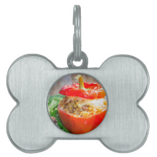 Baked stuffed peppers with meat sauce and cheese pet name tag