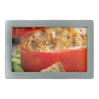 Baked stuffed peppers with meat sauce and cheese rectangular belt buckle