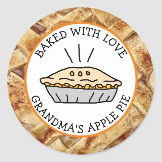 Baked with Love, Apple Pie Personalized Classic Round Sticker