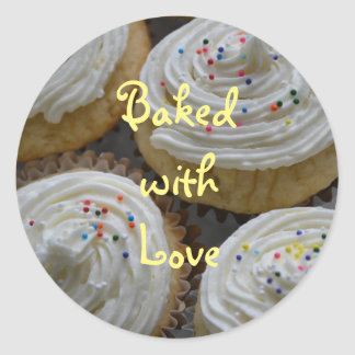 Baked With Love Cupcake Sticker