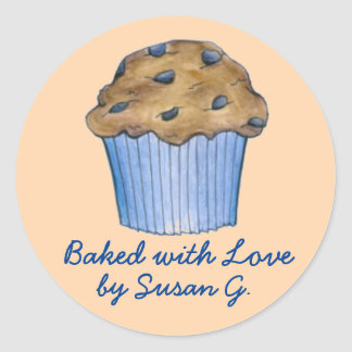 Baked with Love Customized Blueberry Muffin Food Classic Round Sticker