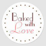 Baked With Love Decorative Circle Classic Round Sticker