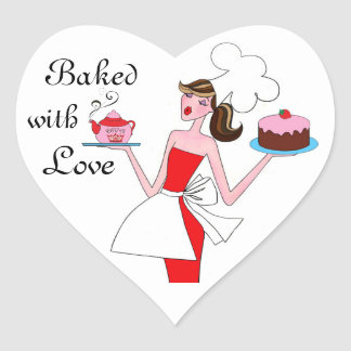 """""""Baked With Love"""" Diva Heart Stickers"""