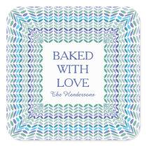 Baked with Love Elegant Leaf Pattern Baking Labels