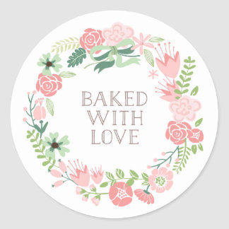 Baked with Love Floral Wreath | Thank You Stickers