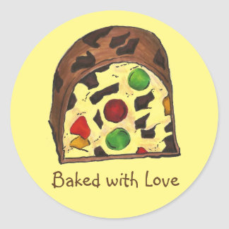 Baked with Love Fruitcake Fruit Cake Xmas Stickers