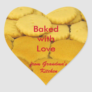 Baked with Love Heart Sticker