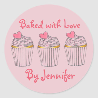 Baked with Love Personalized Pink Cupcake Stickers