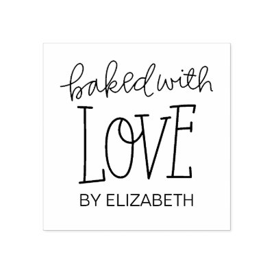 1d51c8456583 Baked With Love Personalized Rubber Stamp | Zazzle.com