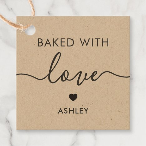 Baked With Love Tag, Homemade Gift Tag, Kraft Favor Tags