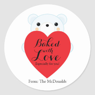 Baked With Love VALENTINE GIFT Sticker BEAR