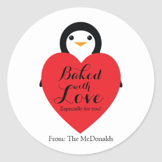 Baked With Love VALENTINE GIFT Sticker PENGUIN