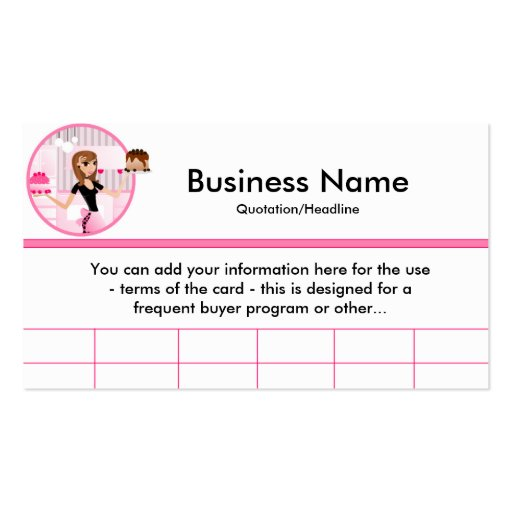 Baker/Bakery/Pastry Chef (D1) Frequent Buyer Cards Double-Sided Standard Business Cards (Pack Of 100)