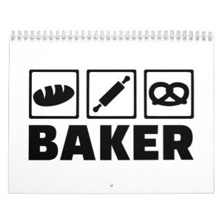 Baker bread pretzel rolling pin wall calendar