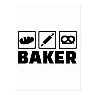 Baker bread pretzel rolling pin postcard