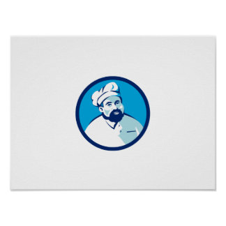 Baker Chef Cook Bearded Circle Retro Poster