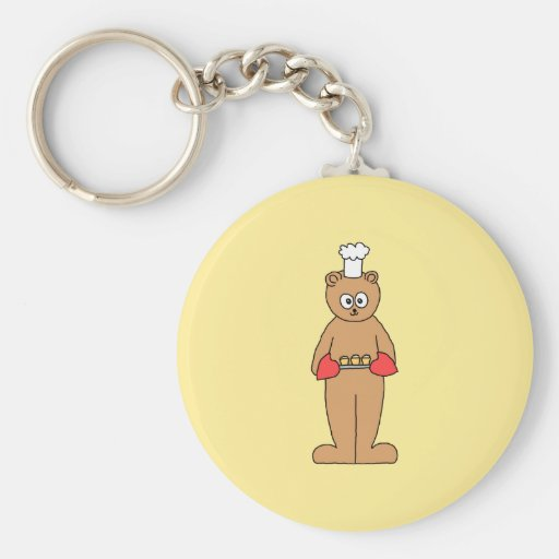 Baker Chef with Cupcakes. Basic Round Button Keychain